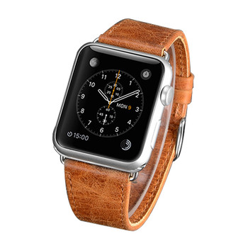 Apple Watch 38mm Series 3 2 1 Real Leather Wristband Strap Brown
