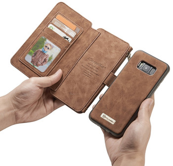 Samsung Galaxy S8 Leather Case Wallet Brown-14 Card Slots