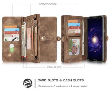 Samsung Galaxy S8+[Plus] Zipper Wallet Card Cash Storage Case Brown