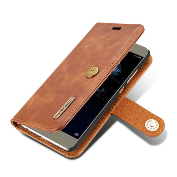 Huawei P10 Leather Wallet Case Cover Tan Brown