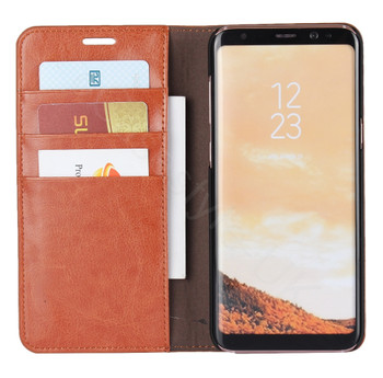 Samsung Galaxy S8+[Plus] Genuine Leather Crazy Horse Case Tan