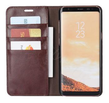 Samsung Galaxy S8+[Plus] Genuine Leather Crazy Horse Case Chestnut