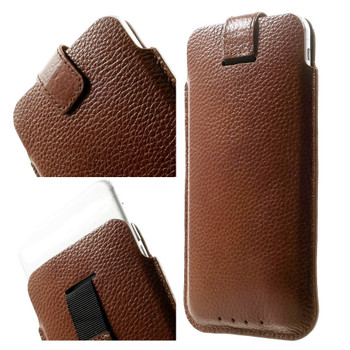 iPhone 8 PLUS Size Leather Pouch Case Brown