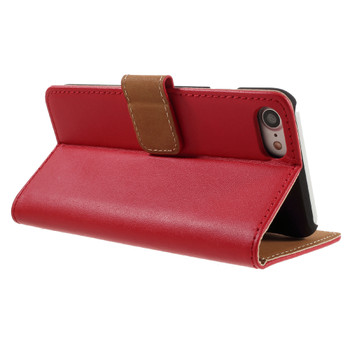 iPhone 8 Leather Wallet Case Cover Red