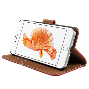 """iPhone 8+""""Plus"""" Leather Wallet Case Red"""