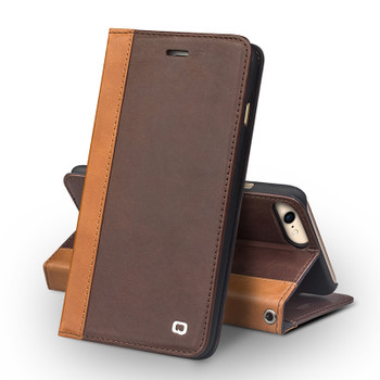 Qialino iPhone 8 Handmade Leather Case Brown