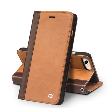 Qialino iPhone 8 Handmade Leather Case Tan