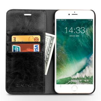 Qialino iPhone 8 Luxury Leather Case Classic Black