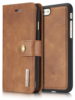iPhone 8 Leather Wallet+Magnetic Case Cover Tan