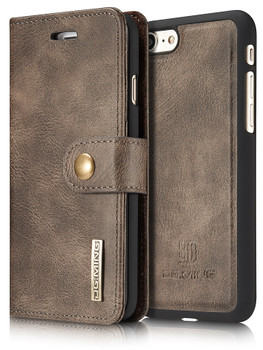 iPhone 8 Leather Wallet+Magnetic Case Cover Coffee