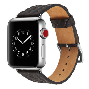Apple Watch 42mm Series 3 2 1 Cowhide Leather Strap Woven Black