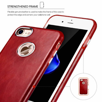 iCarer iPhone 8 Vintage Leather Cover Case Red