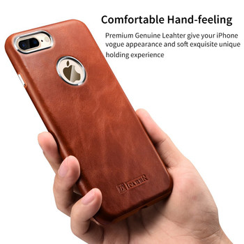 """iCarer iPhone 8+""""Plus"""" Luxury Leather Case Brown"""