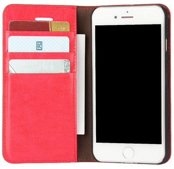iPhone 7 Crazy Horse Smooth Real Leather Case Red