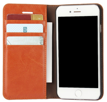 iPhone 8 Real Leather Wallet Cover Case Tan