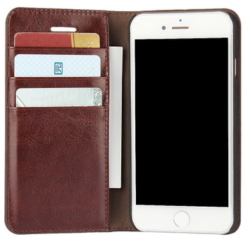 iPhone 8 Real Leather Wallet Cover Case Dark Brown