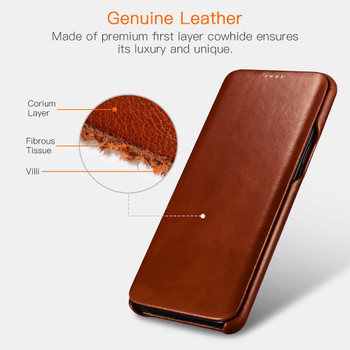 Samsung Galaxy S9 Genuine Leather Flip Case Cover Brown