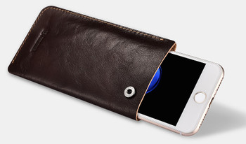 "iPhone 7+""Plus"" Genuine Leather Handmade Pouch Case"