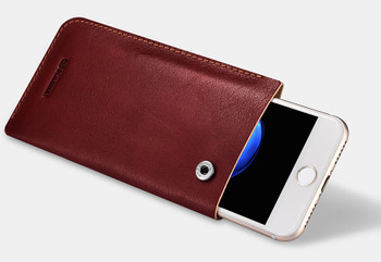 "iPhone 8+""Plus"" Genuine Leather Pouch Sleeve Case Wine Red"