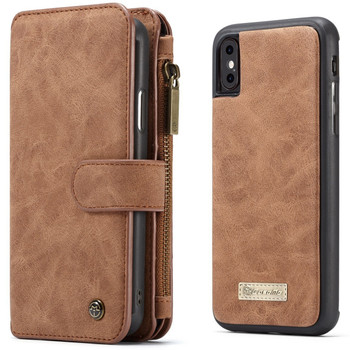 iPhone XS Leather Wallet Case-14 Card Slots Brown
