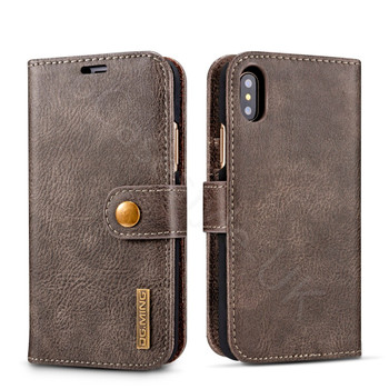 iPhone XS Leather Folio Case+Magnetic Cover Brown