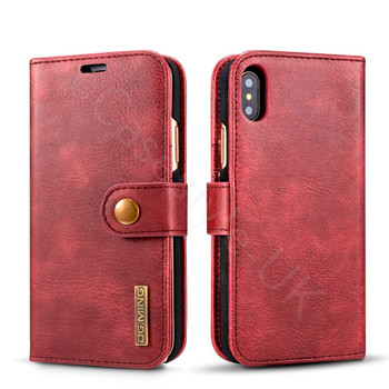 iPhone XS Leather Folio Case+Magnetic Cover Red