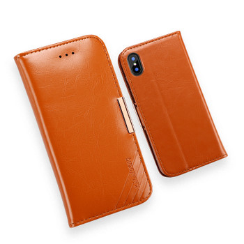 iPhone XS Premium Leather Case Light Brown