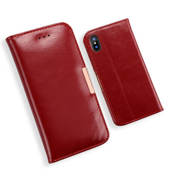 iPhone XS Premium Leather Case Dark Red
