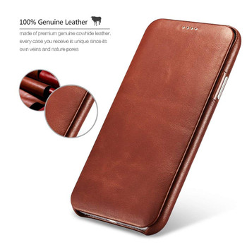 iPhone XS Real Leather Curved Edge Vintge Case Brown