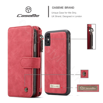 iPhone XS MAX Leather Wallet Case 14 Cards Holder Red