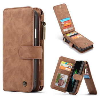 iPhone XR Leather Wallet Case Cover 14 Cards Storage Holder Brown