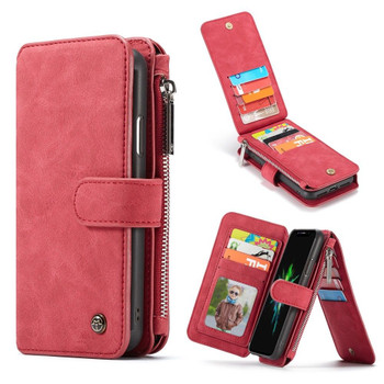 iPhone XR Leather Wallet Case 14 Cards Storage Holder Red