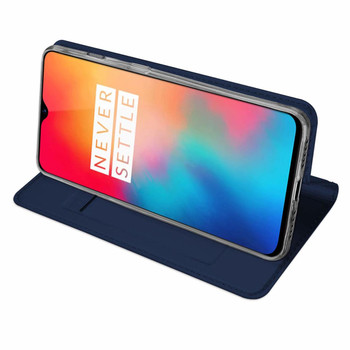 OnePlus 6T Case Protective Pu Leather Cover Blue+Fitted Phone Holder