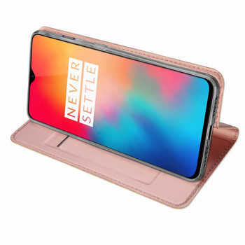 OnePlus 6T Luxury Pu Leather Case Cover Holder Rose Gold