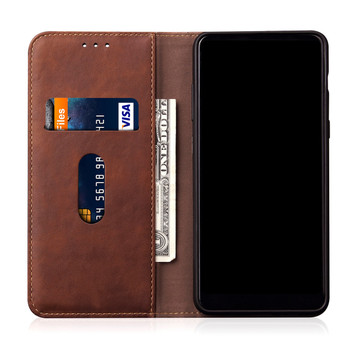 OnePlus 6T Retro Leather Case Card Holder Brown