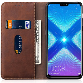 Honor 8X Retro Stylish Leather Case Holder Brown