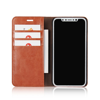 iPhone XS-MAX Real Leather Case Wallet Card Holder Tan