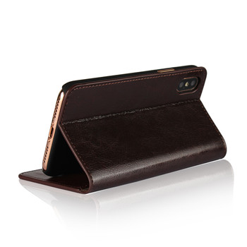 iPhone XS-MAX Real Leather Case Wallet Card Holder Brown