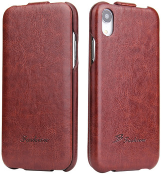 iPhone XR Vertical Flip Case Up-Down Brown