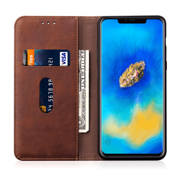 Huawei Mate 20 PRO Phone Leather Magnetic Case Cover Brown