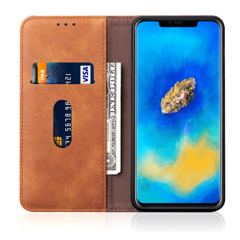 Huawei Mate 20 PRO Phone Leather Magnetic Case Cover Tan