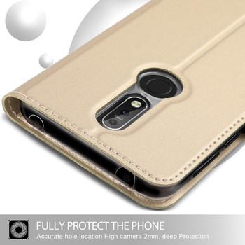 Nokia 7.1 Phone Case Cover Flip Holder Gold