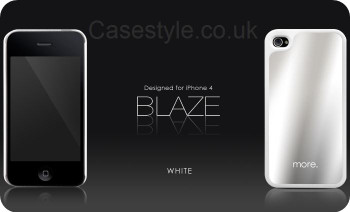 More iPhone 4S 4 Blaze Silver Back Case White