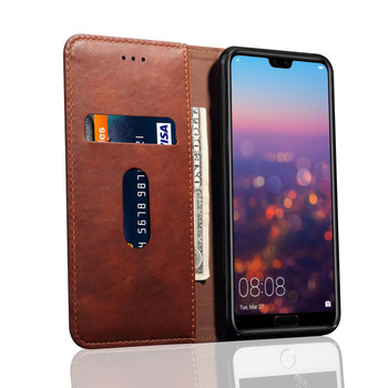Huawei P20 PRO Phone Leather Flip Case Protective Cover Coffee