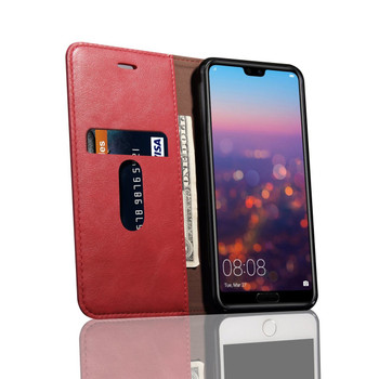 Huawei P20 PRO Phone Leather Flip Case Protective Cover Red