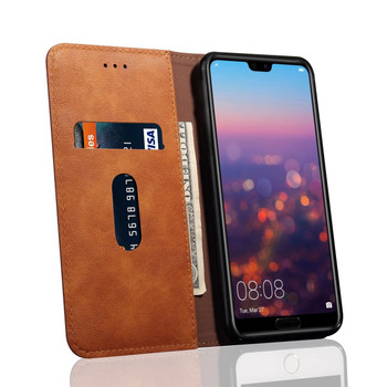Huawei P20 PRO Phone Leather Flip Case Protective Cover Tan