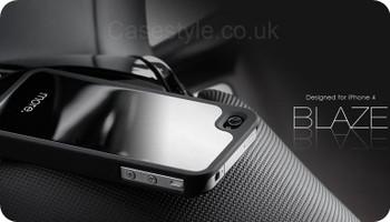 More iPhone 4S 4 Blaze Silver Back Case Black