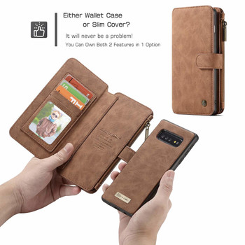 Samsung Galaxy S10 Leather Wallet Case 14 Card Multi Holder Brown