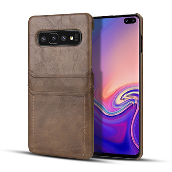 Samsung Galaxy S10 Card Holder Snap-On Slim Lite Case Coffee