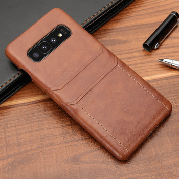 Samsung Galaxy S10+[Plus] Card Holder Slim Lite Case Shell Tan